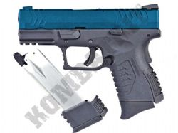 WE XDM 3.8 Compact BB Gun Gas Blowback Airsoft Pistol 2 Tone Blue Metal Slide Dual Mag Bundle